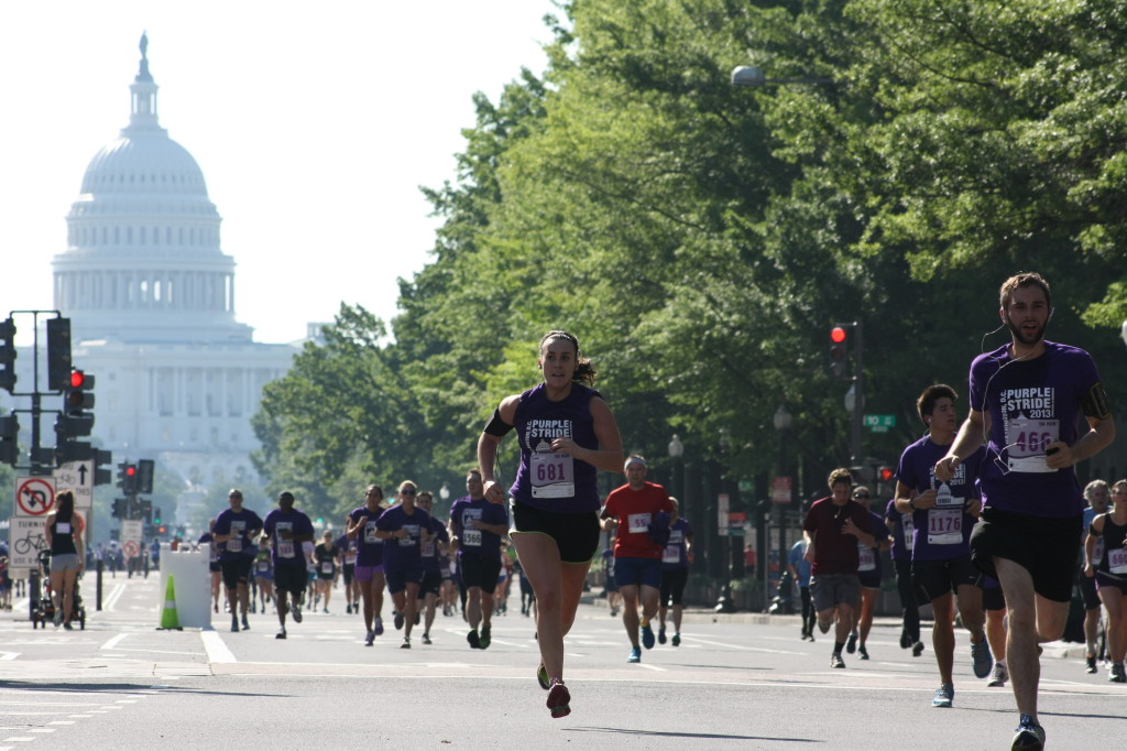 Margaret Kurtz heads toward the finish at the PurpleStride 5k.                                                    Photo: Dustin Renwick