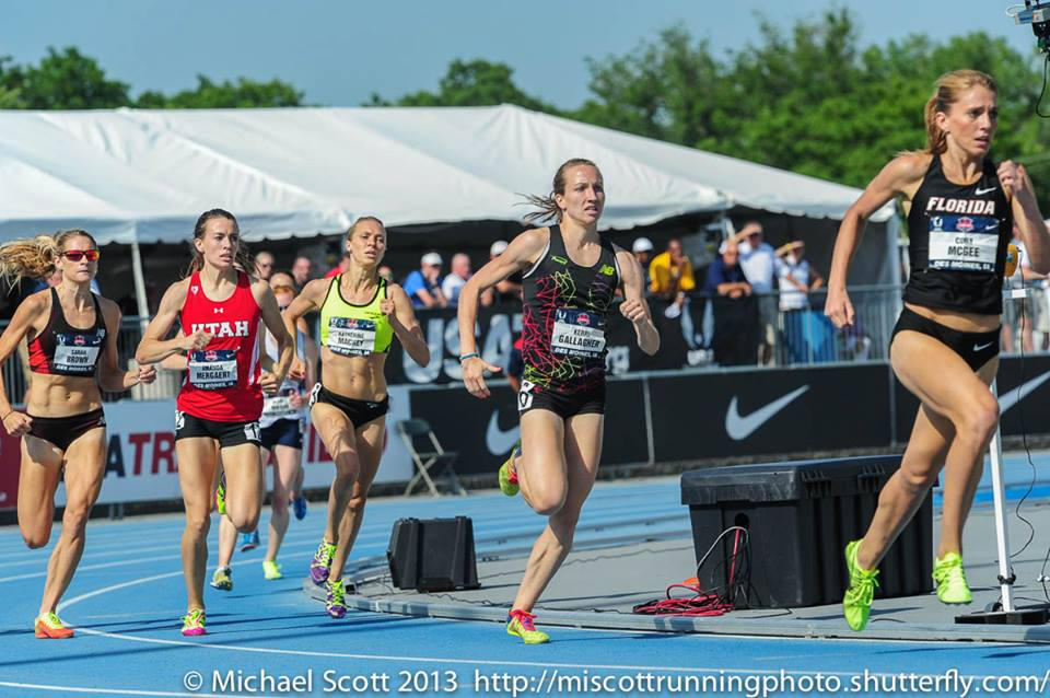 Kerri Gallagher holding in fifth place as the USA Outdoor Track and Field Championships 1500 meter run comes down to the last 100 meters. Photo by: Mike Scott