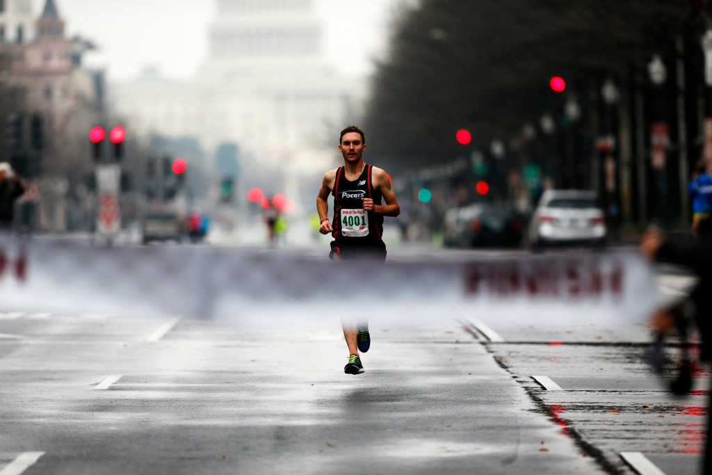 Chris Kwiatkowski cruises to victory in the Jingle all the Way 8k Sunday morning.