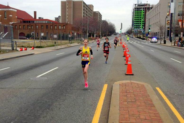 Hilary Dionne shortly after moving into the lead at the Rock 'n' Roll USA Half Marathon. Photo: Charlie Ban