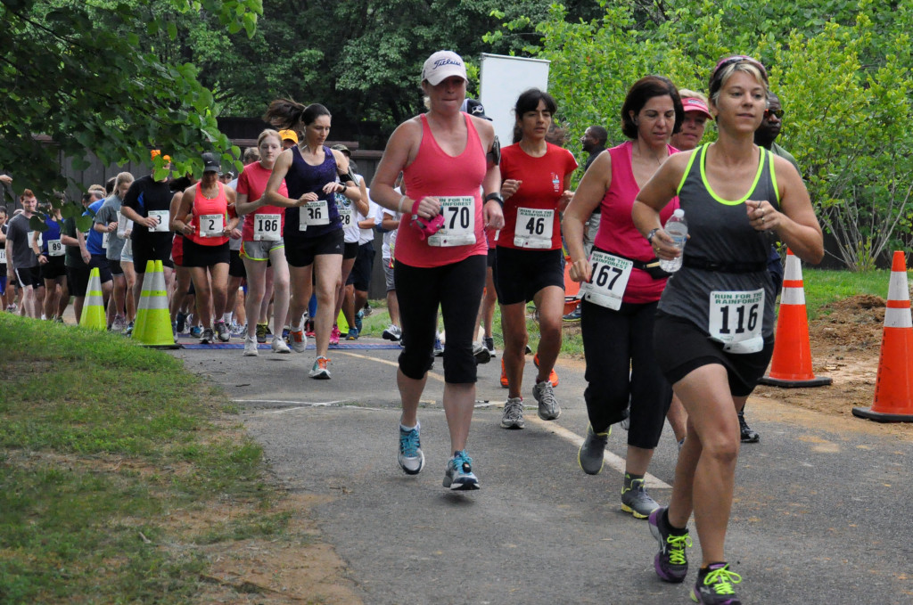 The rain held off at the Run for Rainforest 5k...for about a minute. Photo: Jacqueline Klimas