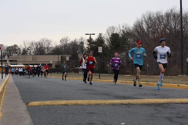 Half marathoners head out of South Lakes High School during the Runners Half Marathon of Reston.                  Photo: Dorothy Beal