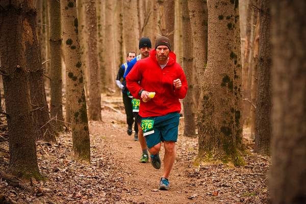 Scott Vinads of Philadelpha cruises through the Seneca Greenway Trail 50k. Photo by Ken Trombatore
