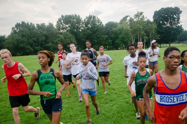 D.C. public schools cross country runners can look forward to a bigger state meet. These runners are members of the Tenleytown Running Club summer program. Photo: Jimmy Daly