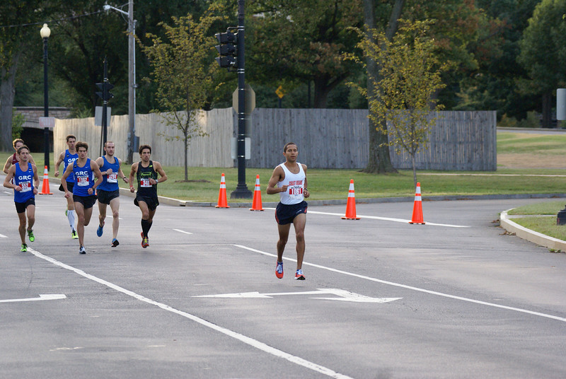 Pat Fernandez flees the chase pack at the Navy-Air Force Half Marathon. Photo: Cheryl Young