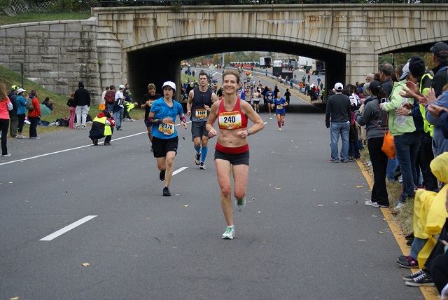 The government shutdown could mean cancellation of the Marine Corps Marathon if not resolved by Friday. Pictured is Bethesda's Maria Kozloski closing in on the 2012 finish. Photo: Cheryl Young