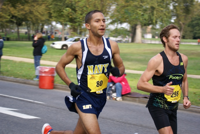 Patrick Fernandez duels Skeeter Morris during the 2013 Marine Corps Marathon. Photo: Cheryl Young
