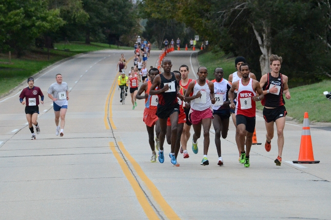 The front pack leads the way down the George Washington Memorial Parkway early in the 2012 Woodrow Wilson Bridge Half Marathon. Without a National Park Service permit, all of which were rescinded during the government shutdown, the race was forced into postponement. Photo: Clay Shaw