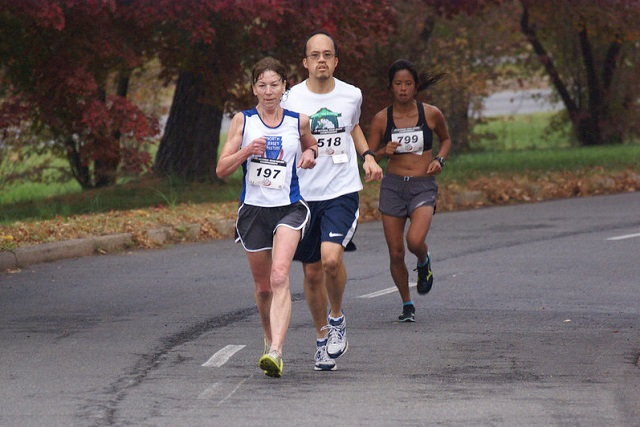 Erika Campbell, Douglas Kung and Kara Guzman run the 12k at the .US National Road Racing Championships in Alexandria. Photo: Cheryl Young