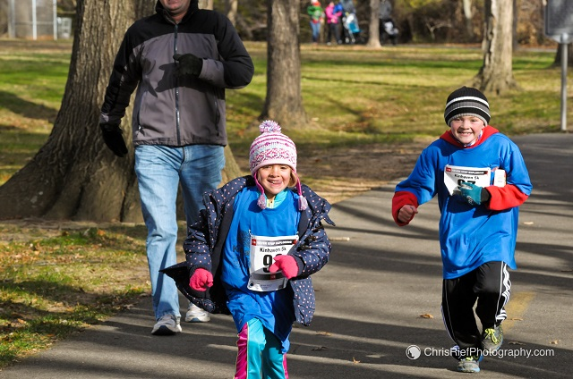 Kelly  and James McIntyre approach the finish line at the Kinhaven 5k. Photo: Chris Rief ChrisRiefPhotography.com