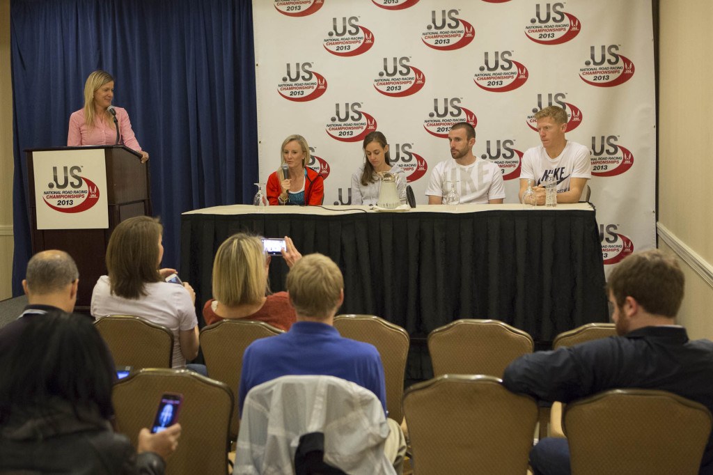 Top American runners Shalane Flanagan, Molly Huddle, Chris Solinsky, and Matt Tegenkamp at a press conference this morning. Photo: Vladimir Bukalo