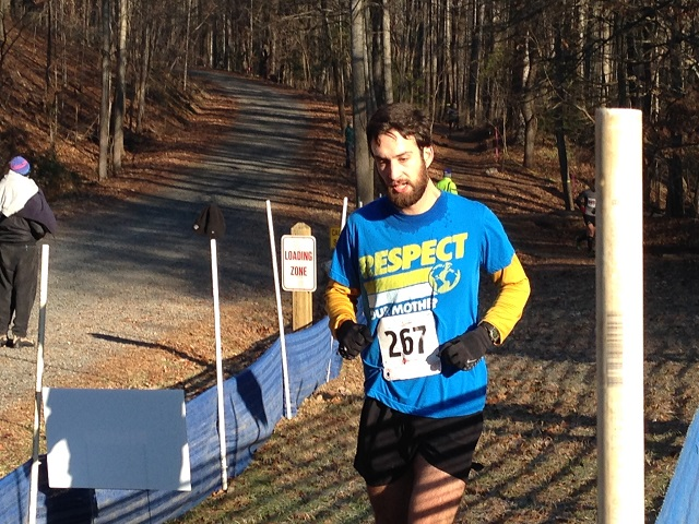 Danny Cooper of Falls Church finished the 5.5 mile race in third place overall in the final Fall Backyard Burn series race at Hemlock Overlook Regional Park in Clifton  Dec. 1/. Photo: Jessie Biele