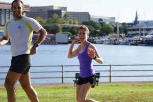 Katie Sheedy and husband Bill Goodrich running along the Tidal Basin. Photo: Cheryl Young