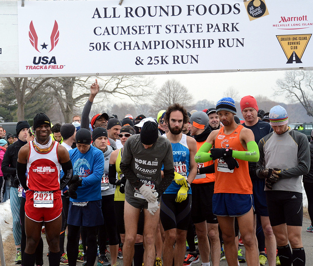 Chantilly native Ethan Coffey looks focused before starting the USATF 50k championship, which he went on to win in course record time. Photo courtesy of Greater Long Island Running Club.