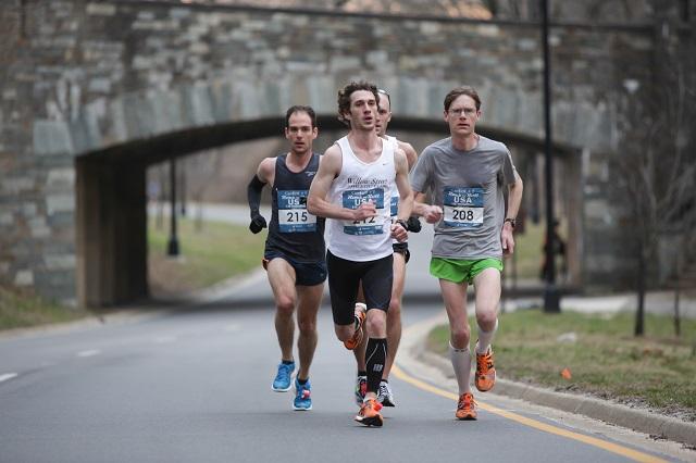 Gregory Mariano, Thomas O'Grady and Patrick Kuhlmann head up Rock Creek Parkway in mile 6 of the Rock 'n' Roll USA Half Marathon. Photp: Bruce Buckley/ Swim Bike Run Photography
