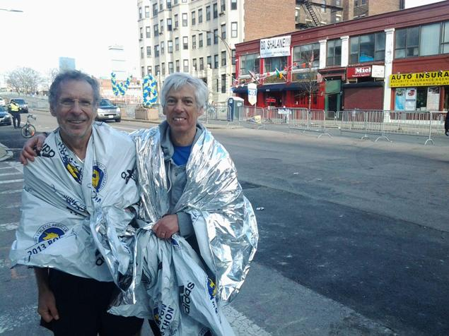 Phil Stewart and Ben Beach stand on Boyleston Street after the crowds cleared from the truncated 2013 Boston Marathon. Photo: Carter M. Beach