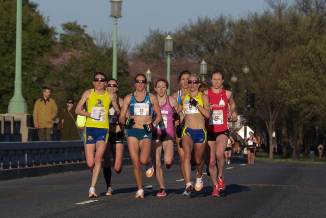 The women's chase pack at the U.S. 10 Mile Championships during the Cherry Blossom Ten Mile. Photo:Vladimir Bukalo