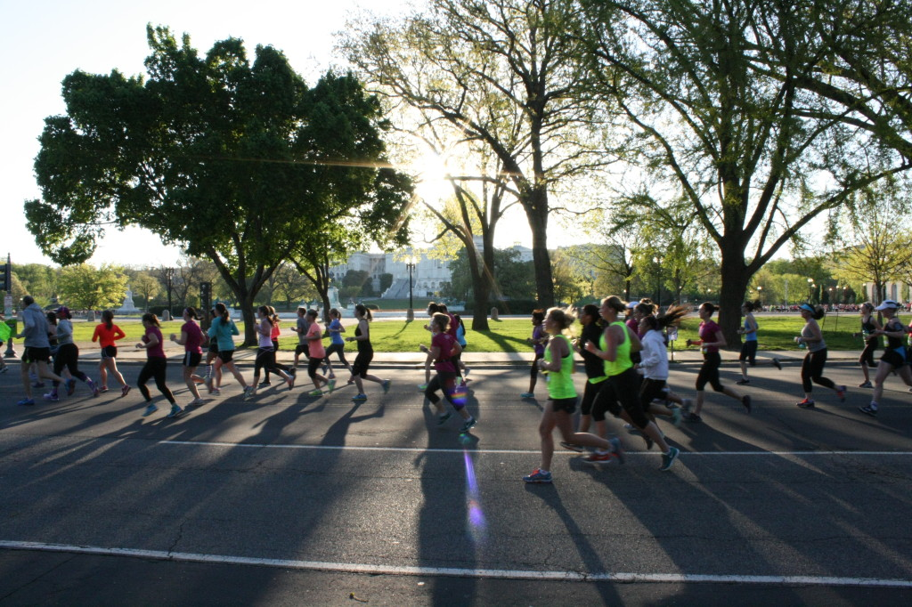 Thousands of runners make the trip around the Mall, along the Potomac and around Hains Point during the Nike Women's Half Marathon. Photo: Dustin Renwick