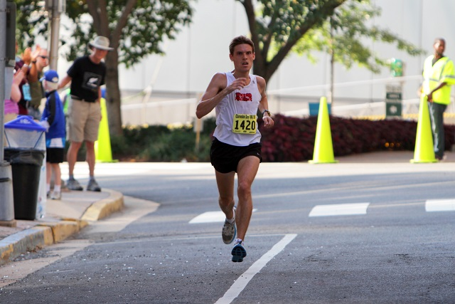 Scott Allen, winning the 2012 Clarendon Day 10k. Photo: Swim Bike Run Photography