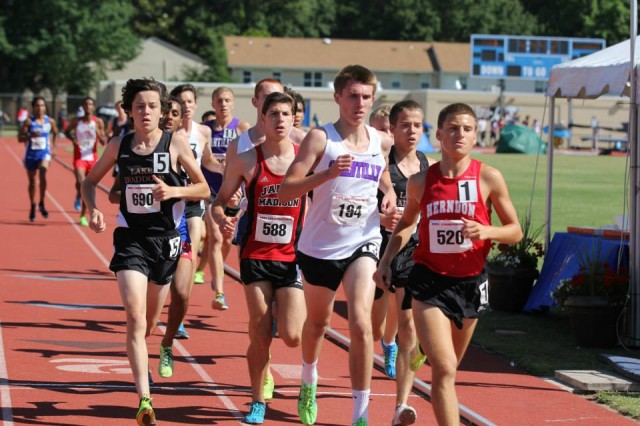 Andrew Goldman (right) leads the boys 6A 3200 meter at the state meet. He went on to win in 9:12.58. From right to left- Alex Corbett (Lake Braddock, 2nd in 9:15.14), Ryan McGorty (Chantilly, fifth in 9:26.74) Matt Calem (James Madison, third in 9:23.03) and Kevin Monogue (Lake Braddock, sixth in 9:27.15) Photo: Ed Lull