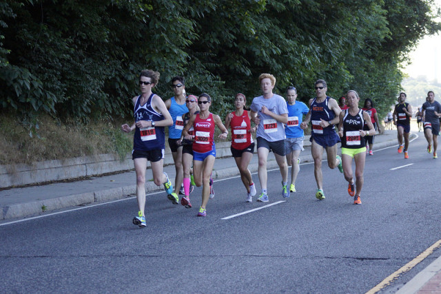 The women's chase pack heads down Canal Road. Photo: Cheryl Young