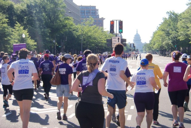 Runners and walkers head down Pennsylvania Avenue to start the PurpleStrides 5k. Photo: Maggie Lloyd