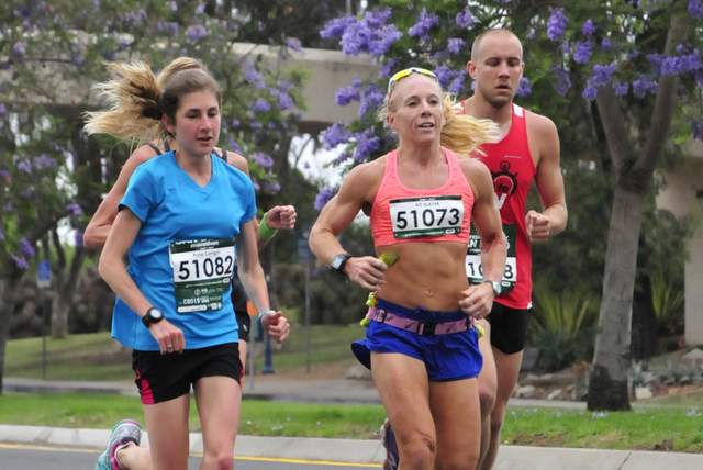 Anna Corrigan (left) and Bonnie Axman contend during the first few miles of the Rock 'n' Roll San Diego Marathon. Photo: MarathonFoto