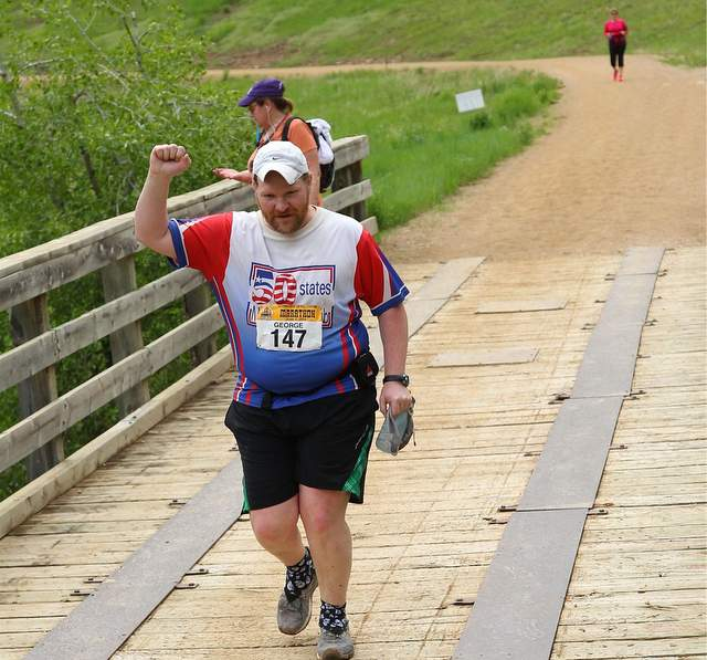 Ted Hobart at the Deadwood Mickelson Trail Marathon. Photo: MarthonFoto