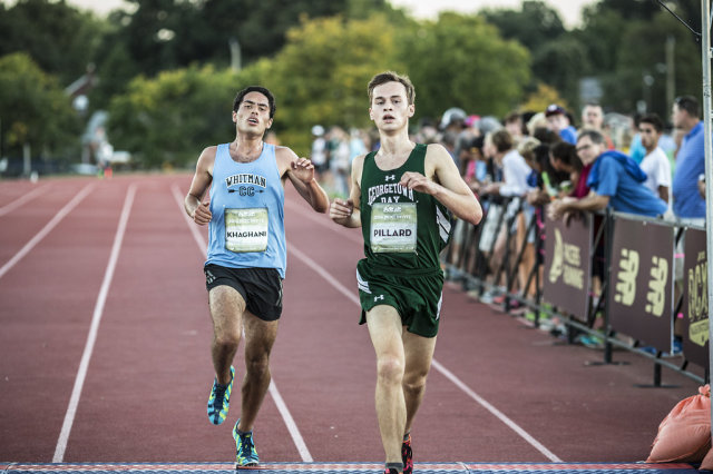 Amir Khaghani and Aidan Pillard both clock in at 15:56 in the senior boys' race at the DCXC Invitational. Photo: Dustin Whitlow