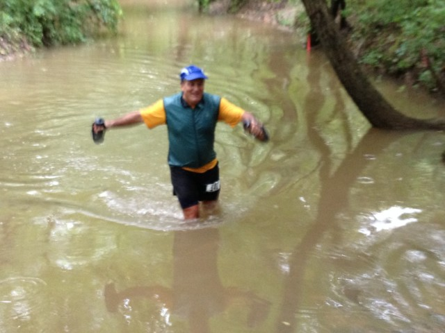 Getting that Virginia marathon crossed off the list at the Cross County Trail marathon meant getting a little wet. Photo: Altis Endurance Events
