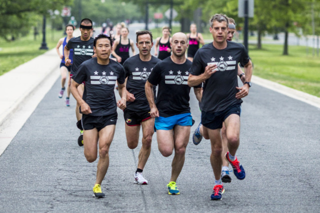 Dan Yi and Alan Pemberton (first and second from the left in the foreground) have built a steady following on Hains Point. Photo: Dustin Whitlow