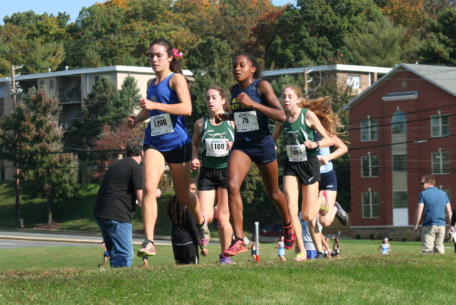 Lucy Srour and Nora McUmber lead Walter Johnson's Kiernan Keller and Abbey Green and Clarksburg's Lucie Noall at the Montgomery County Cross Country Championships. Photo: Charlie Ban