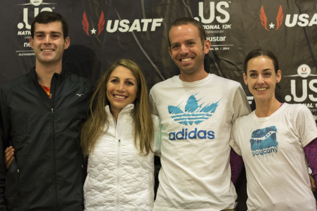 Christo Landry, Sara Hall, Aaron Braun and Molly Huddle. Photo: Dustin Whitlow