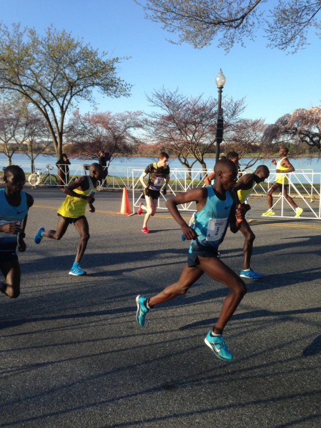 Christo Landry in the lead pack at the 2014 Cherry Blossom Ten Mile. Photo: Charlie Ban
