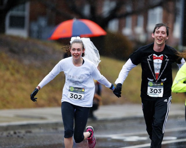 The pair was due at their own wedding later in the day. Photo: Swim Bike Run Photography