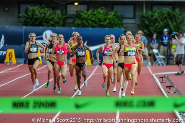 Kerri Gallagher (center right) chases down a podium finish in the USATF 1500m. Georgetown alumnae Rachel Schneider (second from left) and Treniere Moser  (immediately to the left of Gallagher) were also in the final. Photo: Michael Scott