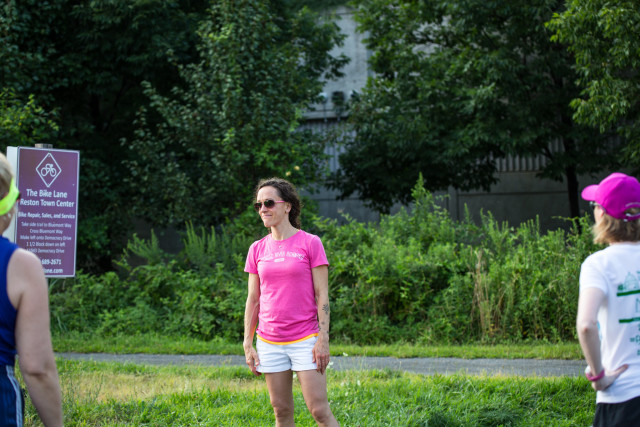 Meghan Ridgley coaching some of her runners. Photo: Dustin Whitlow