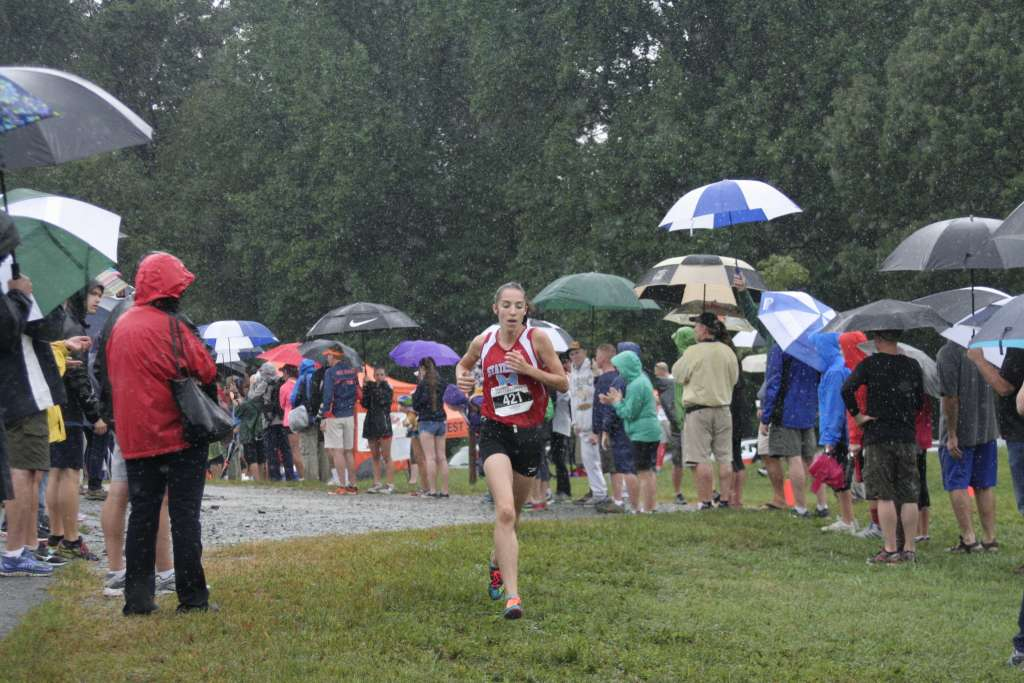 Heather Holt carries a solid lead approaching two miles at the Monroe Parker Invitational. Photo