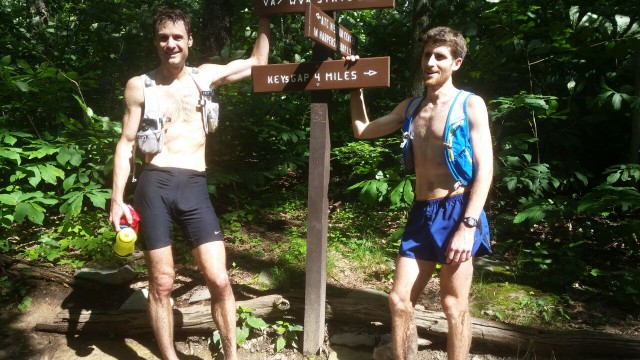 Dustin Meeker (left) and Conrad Laskowski at the end of their run.