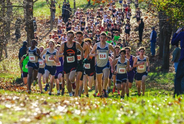 Dalton Hengst and Jack Wavering lead the large school varsity boys at the Maryland-D.C. Private Schools Cross Country Championship. Photo: Dan DiFonzo