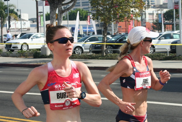Teal Burrell races with Molly Friel during the U.S. Olympic Marathon Trials. Photo: Charlie Ban