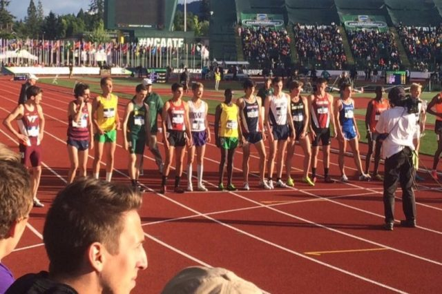 Thomas Curtain, Steven Flynn and Sean McGorty take the line for the NCAA 5,000 meter final. Photo: George Mason Track and Field