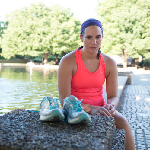 Marla Westervelt glowers at her running shoes. Man, she hates them. Photo: Sara Alepin/Photos from the Harty