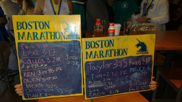 A selection of Montgomery County Road Runners Club finishers' times at the 2016 Boston Marathon. Photo: Ken Trombatore