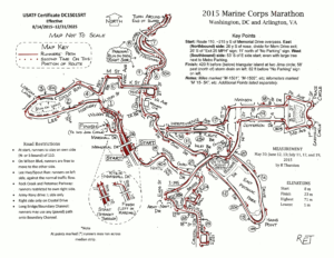 Click to enlarge the Marine Corps Marathon course map. The 2017 course will follow the 2015 course almost identically.