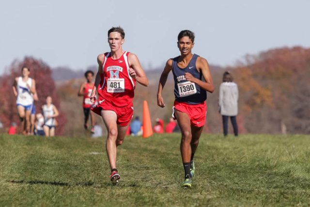 Patrick Lynch and Saurav Velleleth kick down the fight straight at the Virginia state championships. Photo: Bruce Buckley