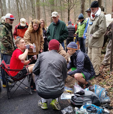 John Kelly refuels during the 2017 Barkley Marathons. Photo: