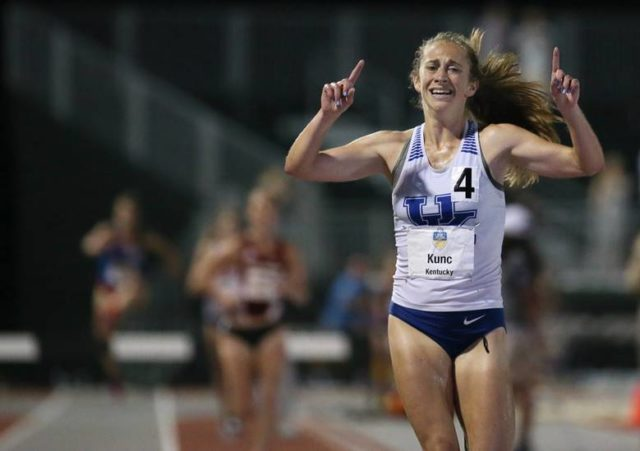 Lake Braddock alumna Katy Kunc wins the 2017 SEC 3,000 meter steeplechase. Photo: University of Kentucky Athletics