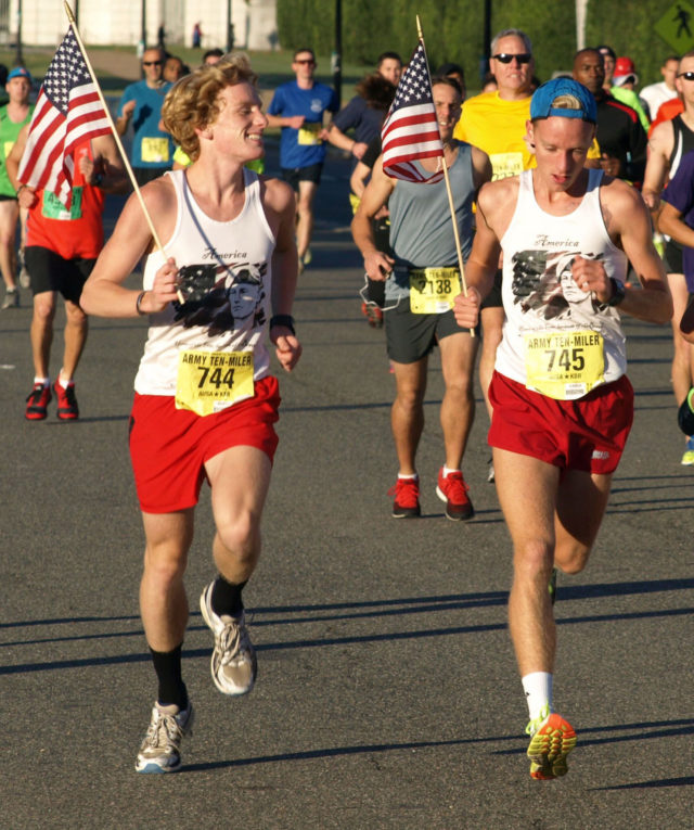 Dustin (left) and Hunter Jutras run the 2015 Army Ten-Miler. Photo courtesy of Jutras family.