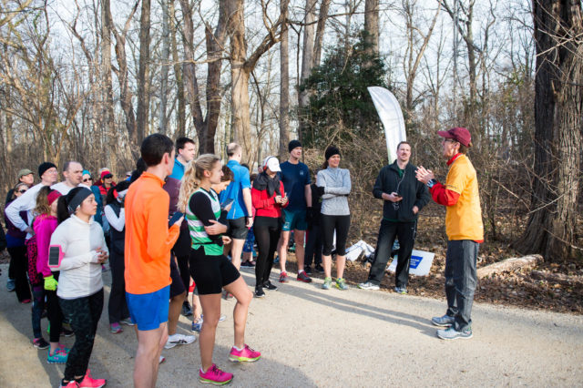 A Roosevelt Island parkrun crowd meets up in February 2017. Photo: Joy Asico